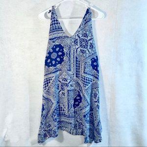 Cacique blue white paisley bandana swim cover up